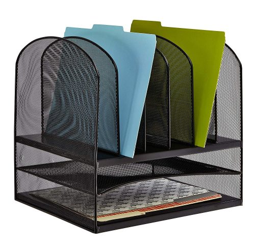 Double Tray and Black Details about  /SimpleHouseware Mesh Desk Organizer with Sliding Drawer