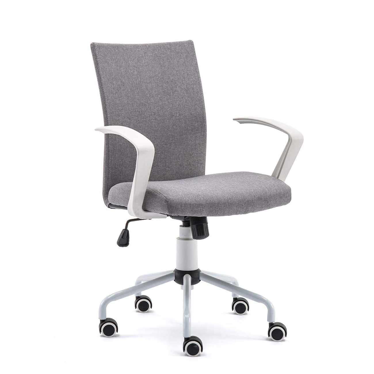 Grey Modern Office Chair Computer Desk Chair Comfort White Swivel Fabric  Home Office Task Chair with Arms and Adjustable Height